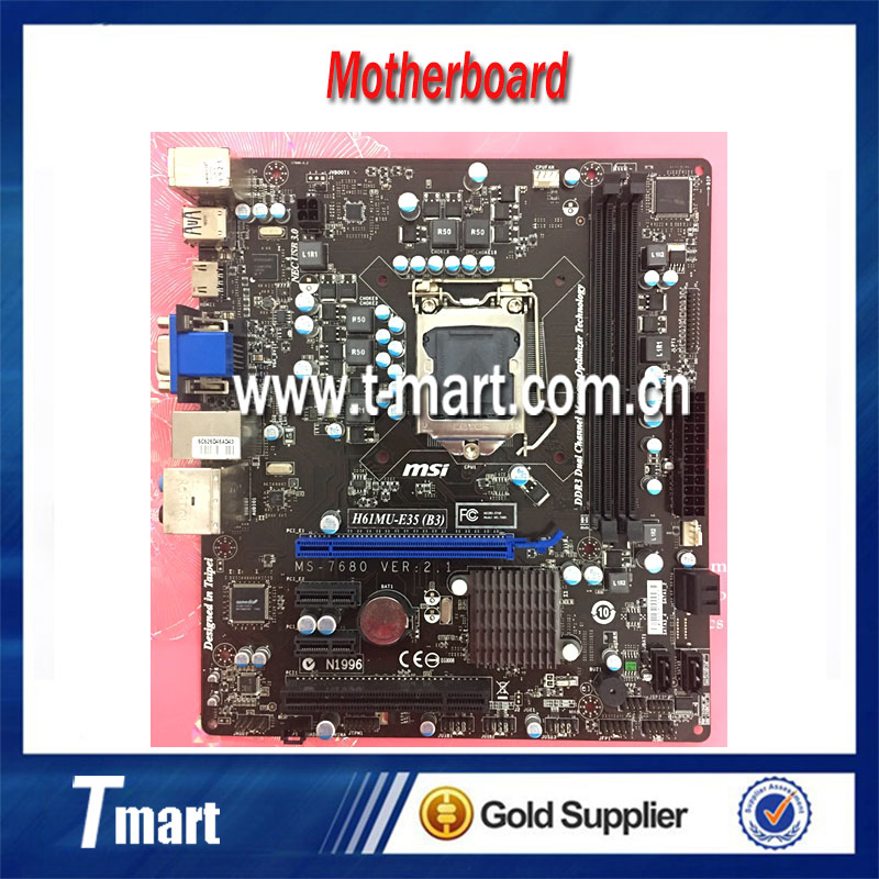 100% Working Desktop Motherboard MSI H61MU-E35 (B3) System Board Fully Tested And Perfect Quality h61v h61 motherboard 1155 perfect g530 g630 h61n 100% tested perfect quality