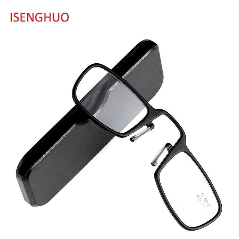 6d3ac28a5 ISENGHUO Carteira SOS TR90 Mini folding Óculos de Leitura Homens Oculos de  grau gafas de Lectura
