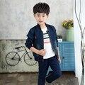 HOT Moda Denim Bebê Meninos Crianças Casaco Outerwear Jaquetas de Moda Infantil Para Menino Jaqueta Com Zíper Primavera Outono Roupa Das Crianças