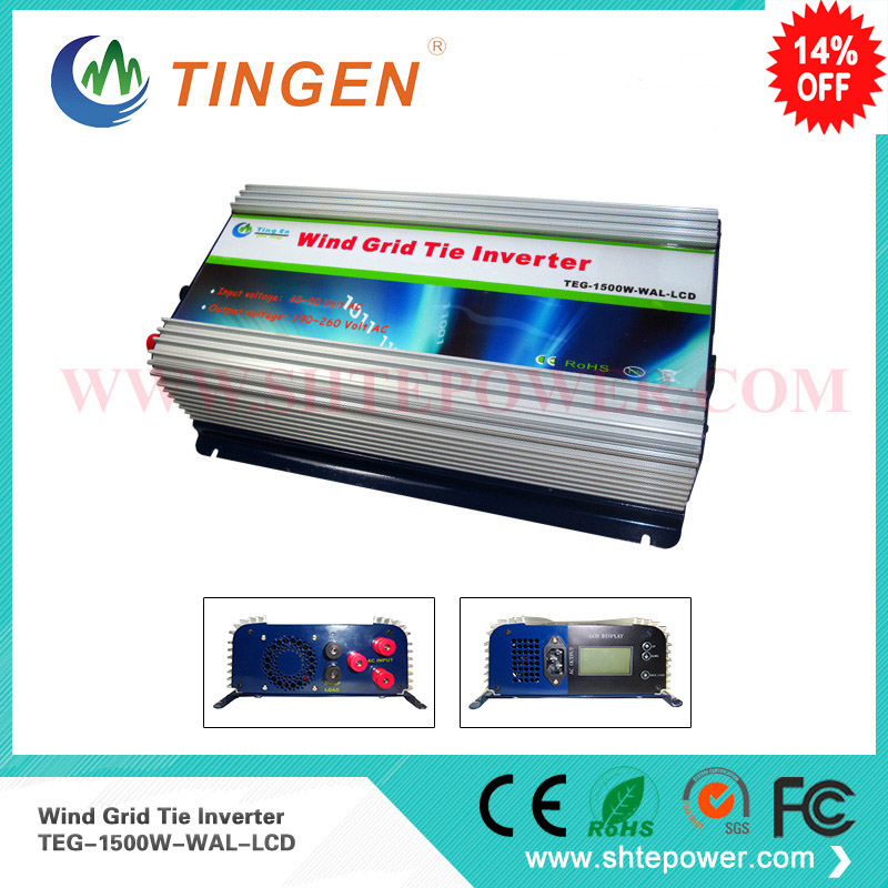 On grid tie wind inverter 3 phase ac input for wind turbine 1500w 1.5kw pure sine wave lcd dump load resistor 2000w wind power grid tie inverter with limiter dump load controller resistor for 3 phase 48v wind turbine generator to ac 220v