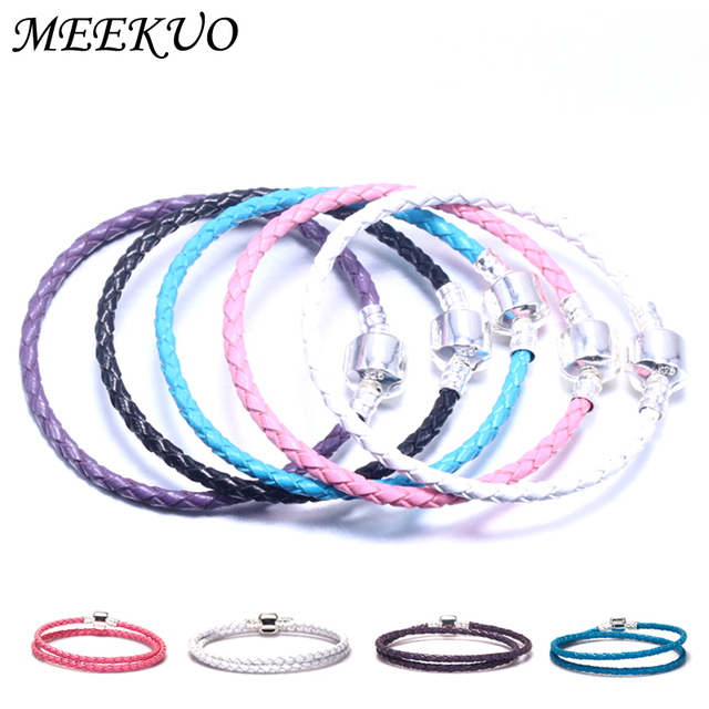 Multicolo Double Braided Chain & Link Bracelets Compatible DIY beads Fit pan Bra