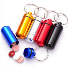 Free Shipping Portable WaterProof Mini Aluminum Keychain Tablet Storage Box Pill Bottle Case Holder 100pcs/lot