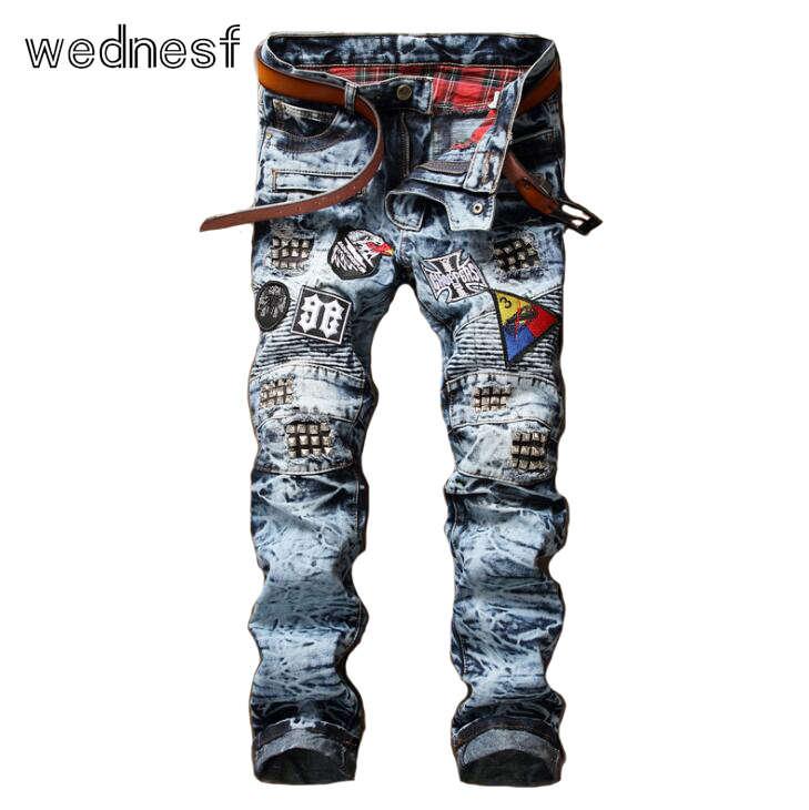 #1921 Rivet Slim Straight Ripped jeans for men Fashion Skinny jeans men Bikers Snowflake blue Punk Hip hop jeans Motorcycle