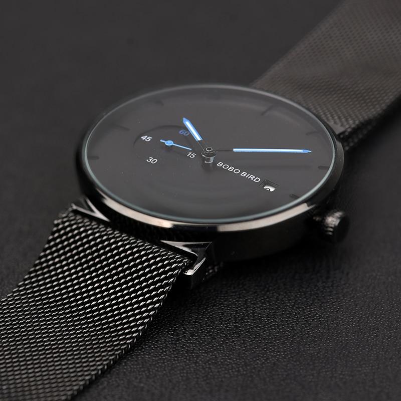 Image 4 - relogio masculino BOBO BIRD Men Watch Luxury Stainless Steel Date Display Quartz Watches Women Gifts Accept LOGO Drop ShippingQuartz Watches   -