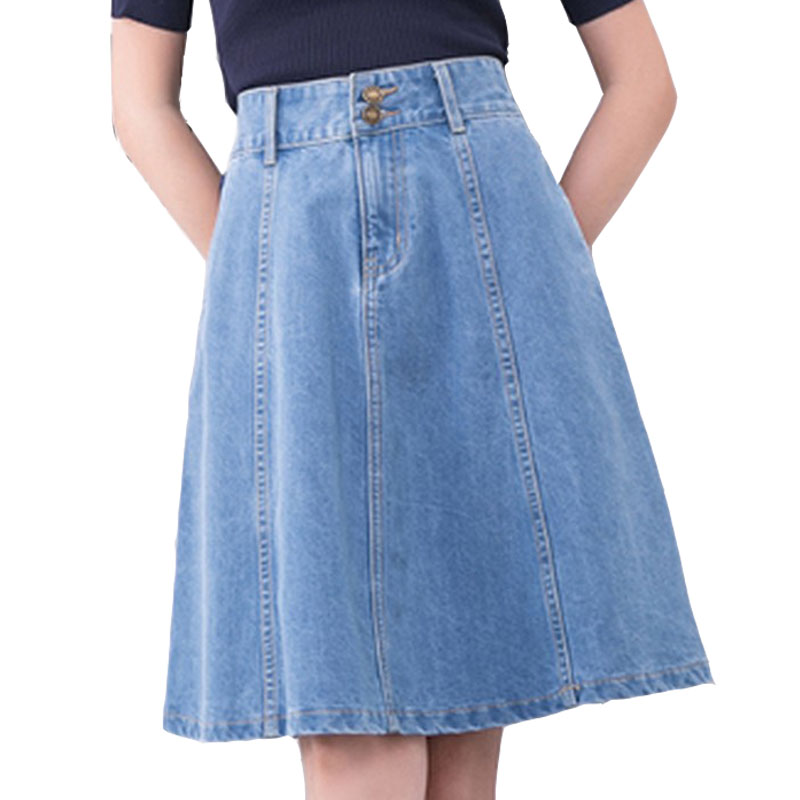 Verão Azul Denim Jean Saia Casual Coreano das Mulheres de Cintura Alta Saia Plissada A-line Na Altura Do Joelho Saia Guarda-chuva Da Forma Da Mulher 2019