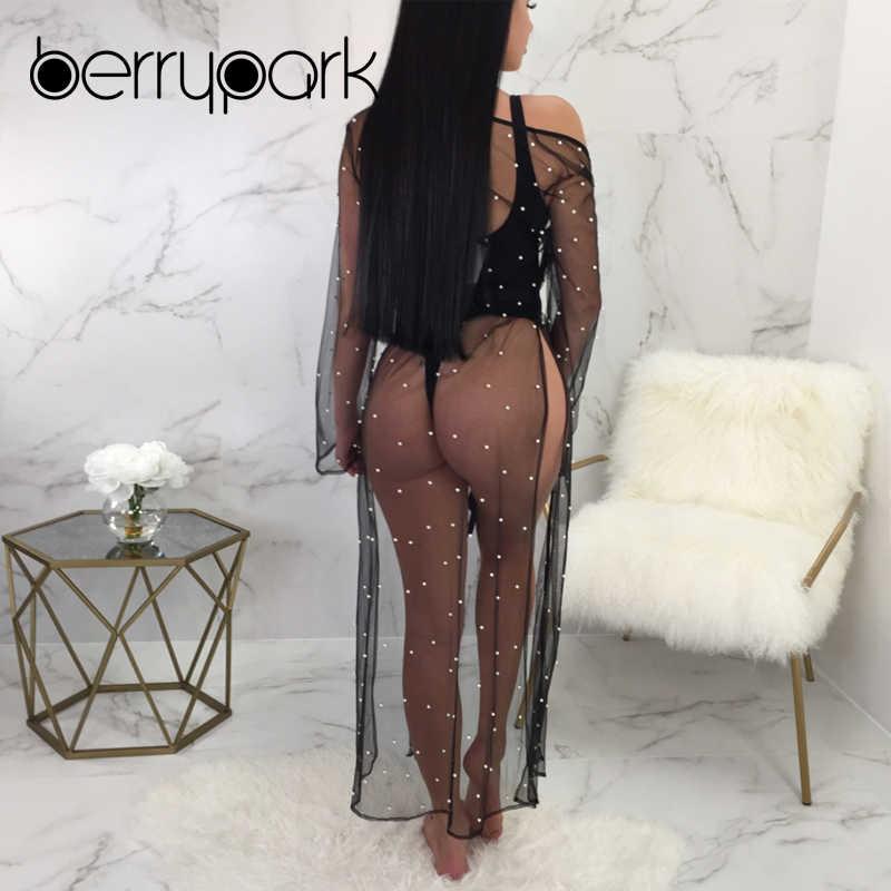 1eb7b5192d ... BerryPark Black Pearl Beading Mesh Dress Women 2019 Summer Sunscreen  Long Sleeve Belt Split Sexy Bikini ...
