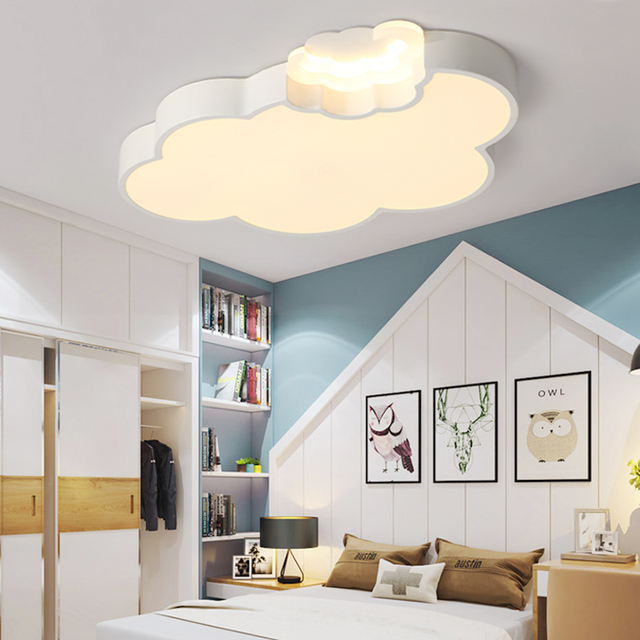 LED Cloud Kids Room Lighting Children Ceiling Lamp Baby Ceiling Light With  Dimming For Boys Girls