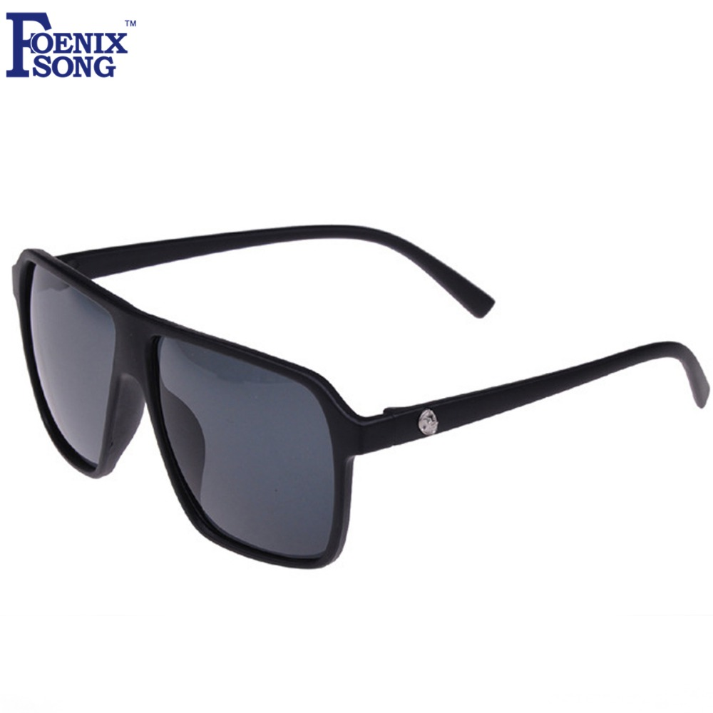 FOENIXSONG Brand Square Sunglasses for Men New Retro Black Frame Vintage Women's Sun Glasses with Case/box Gafas Oculos de sol