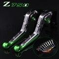 ! Logotipo (Z750) verde + titanium para kawasaki z750 (não modelo Z750S) 2007 2008 2009 2010 2011 2012 Da Motocicleta CNC Alavancas de Embreagem do Freio
