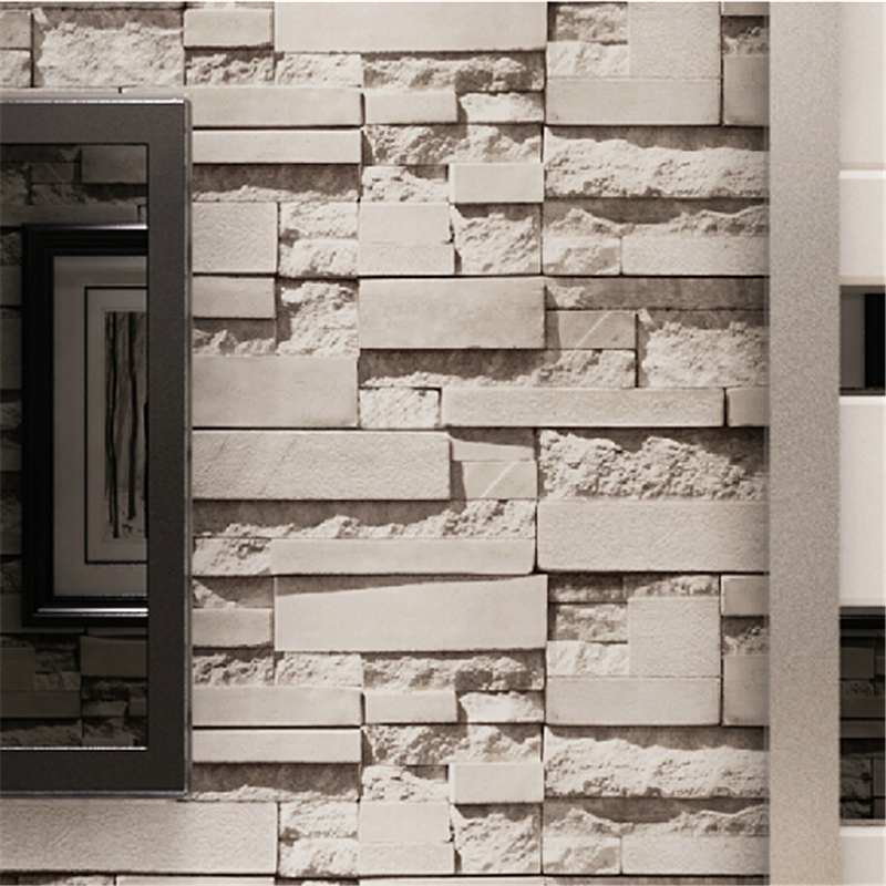 beibehang Luxury Stone Brick wall Vinyl Wallpaper Roll papel de parede 3D Living Room Background Wall Decor Art Wall Paper купить