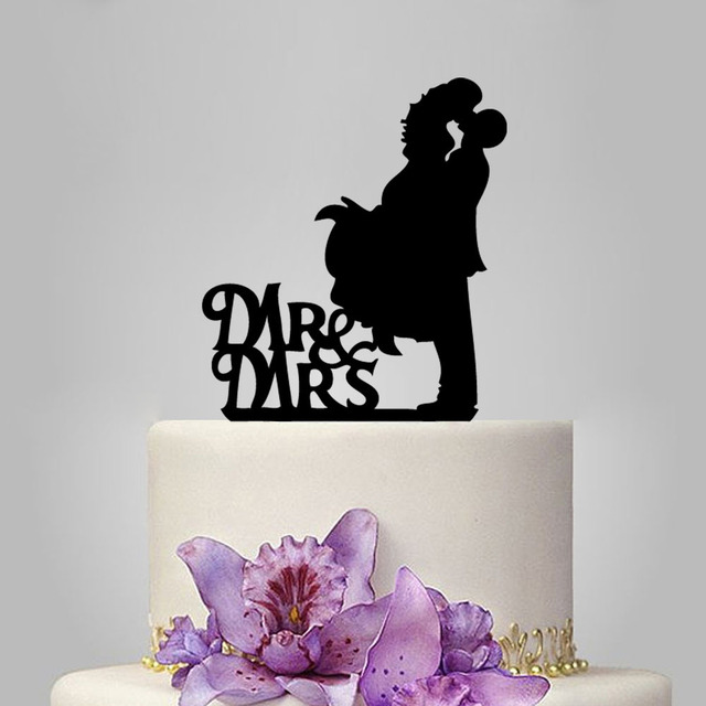 Aliexpress compre 2016 black laser cut wedding decoration funny 2016 black laser cut wedding decoration funny wedding cake toppers bride and groom mr and mrs junglespirit Images