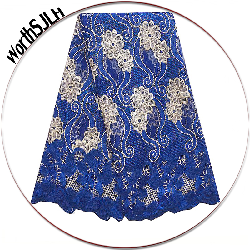 Royal Blue Latest African Lace Fabric 2018 Nigerian White High Quality French Lace African Cord Net Mesh Beaded Lace Fabric-in Lace from Home & Garden    1