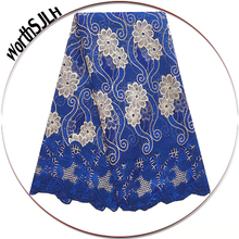 Royal Blue Latest African Lace Fabric 2018 Nigerian White High Quality French Cord Net Mesh Beaded