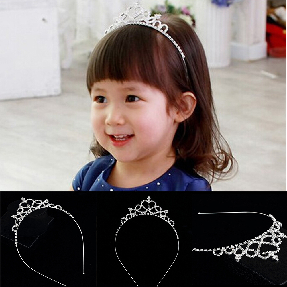 1PC Baby Girls Lovely Girls <font><b>Princess</b></font> Bridal <font><b>Crown</b></font> Crystal Tiara Hoop Headband Hair Band Accessories image