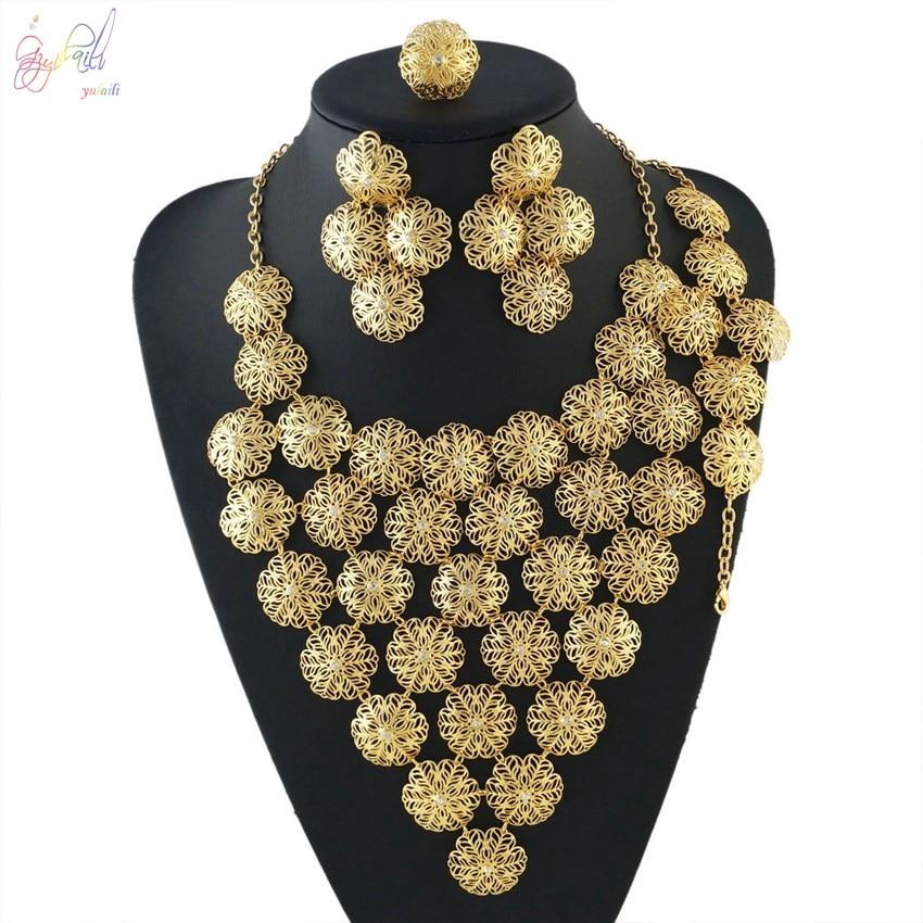 YULAILI Fashion African Beads Jewelry Sets Women Nigerian Wedding Dubai Gold Color Choker Necklace Bridal Accessories