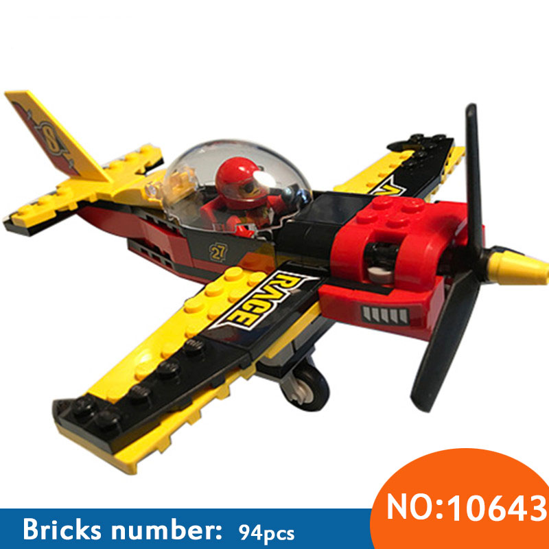 10643 94Pcs City Figures Race Plane Model Building Kits Blocks DIY Bricks Toys Fighter For Children Compatible 60144 10646 160pcs city figures fishing boat model building kits blocks diy bricks toys for children gift compatible 60147