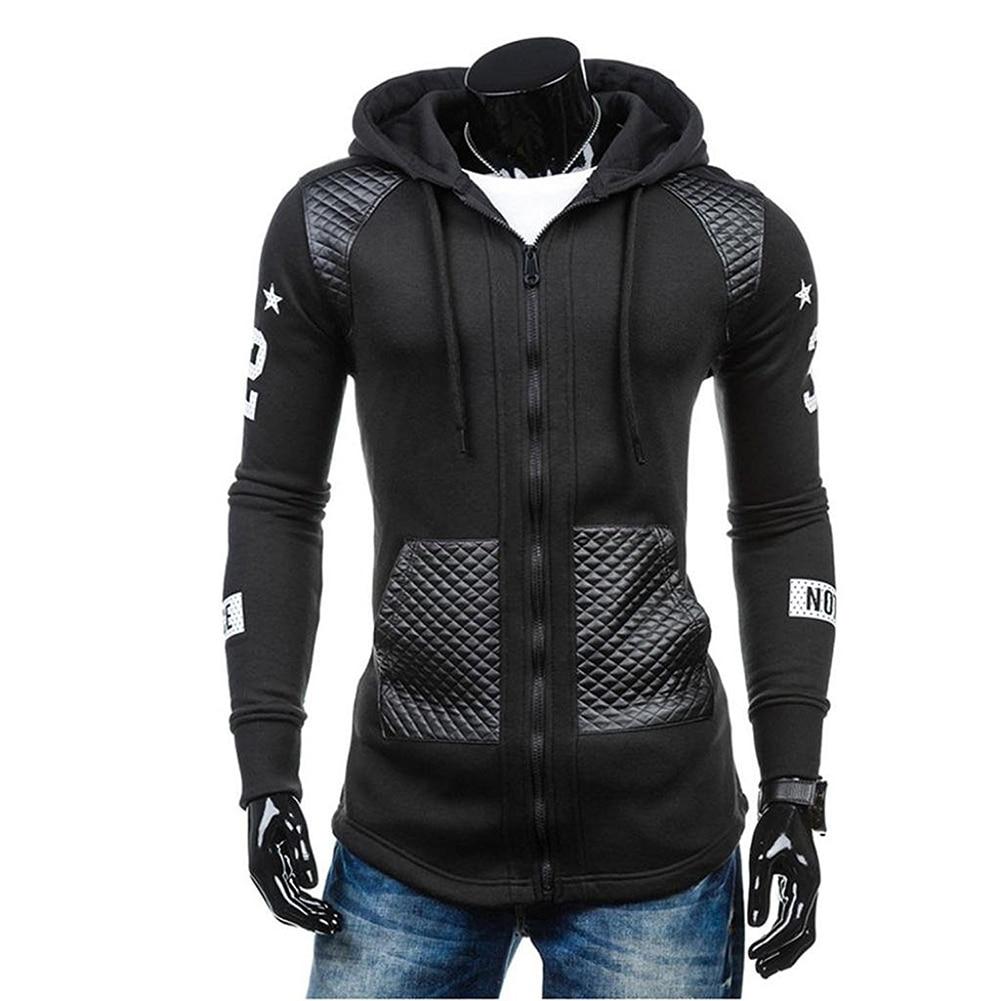 New Men Casual Faux Leather Hooded Sweatshirt Coat Winter Warm Jacket Pocket Outwear