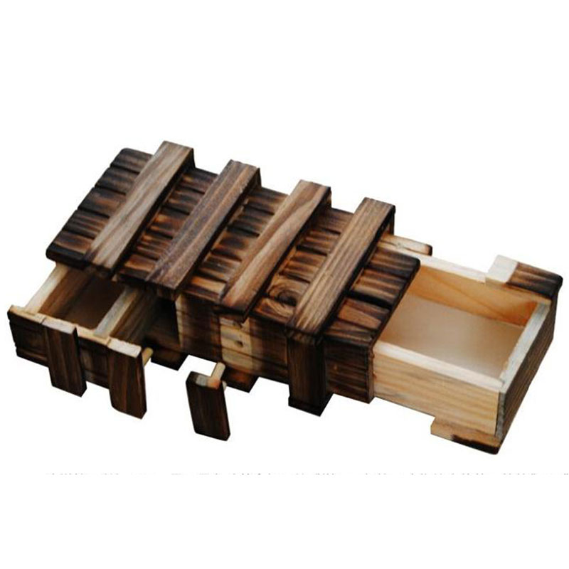 Vintage Wooden Puzzle Box With Secret Drawer Magic Compartment Brain Teaser Wooden Toys Puzzles Boxes Kids Wood Toy Gift
