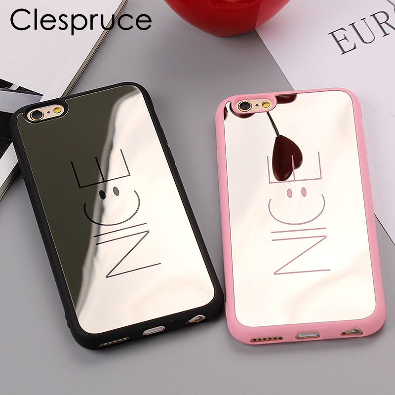 Clespruce Soft Coque Cover Case For iPhone X 7 7plus Luxury Letter Pink Nice Mirror Phone Cases For iPhone 8 Plus 6 6s 5 5s SE