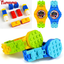 Tumama Nuevo reloj digital Blocks Baseplate Compatible con Legoed Minecrafted Juguetes educativos DIY Juguetes divertidos Brick Base Plate