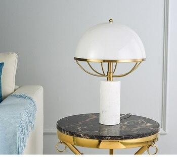 Thời trang Trắng Thủy Tinh Bóng Đèn Bàn Cho Phòng Khách Phòng Ngủ Phòng Nghiên Cứu Học Tập Đá Cẩm Thạch Trắng Phòng Lampada Đôi E27 Đế Đèn Led đèn