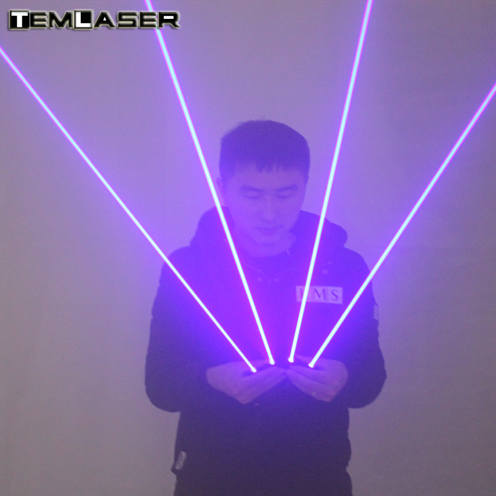 2 in 1 Multi-line Blue Laser Gloves With 4pcs 450nm 80mW Laser ,Stage Gloves For LED luminous Costumes Show