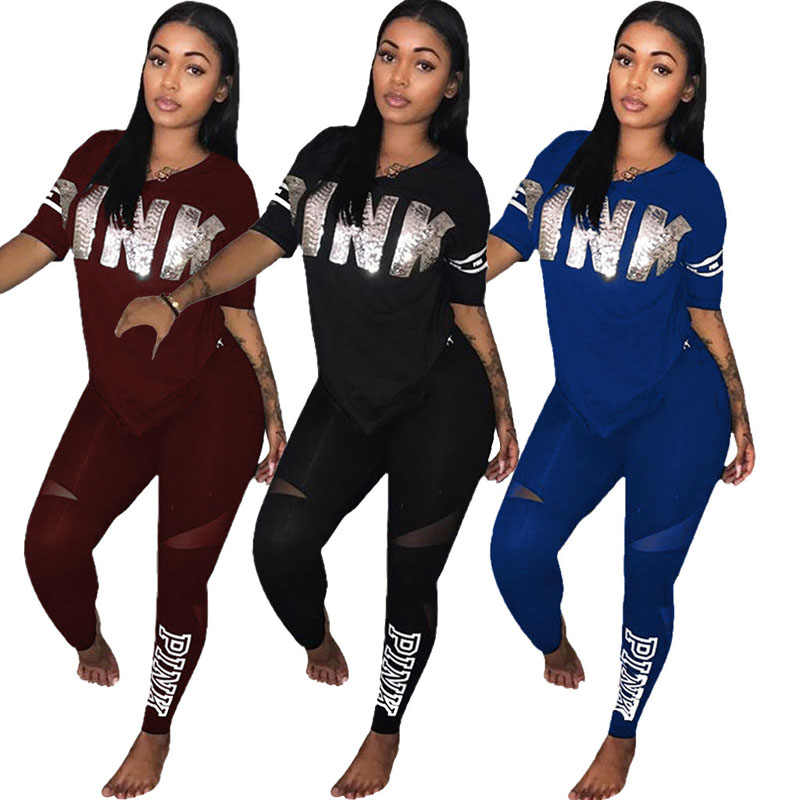366310cd529 Fashion Women 2 Piece Clothing Set Summer Sporting Two Piece Sweat Suit  Letter Patchwork Sweatshirt Pants