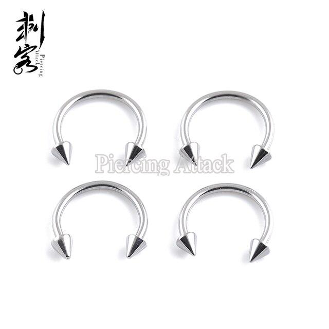 14 Gauge Stainless Steel Spike Horseshoe Stud Earrings Circular Barbell Basic Body Jewelry