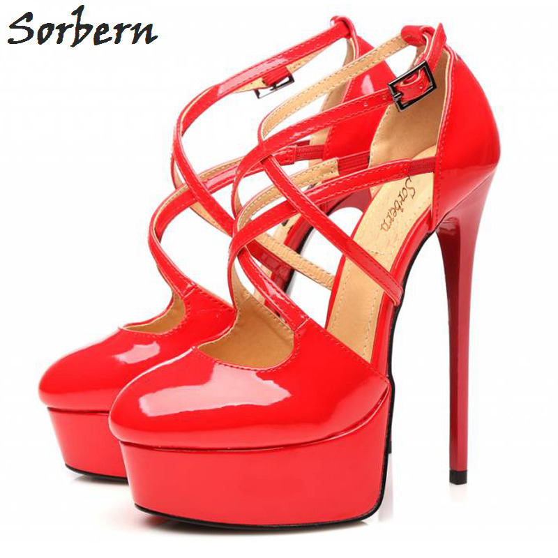 Sorbern Retro Party Dresses Shoes Ladies Pumps Pointe Toe Platform Red High Heels Patent Leather 15Cm Heels Ladies Shoes Size 12 3 inch autumn horsehair platform square toe creepers high heels yellow ladies green wedge shoes genuine leather wine red pumps