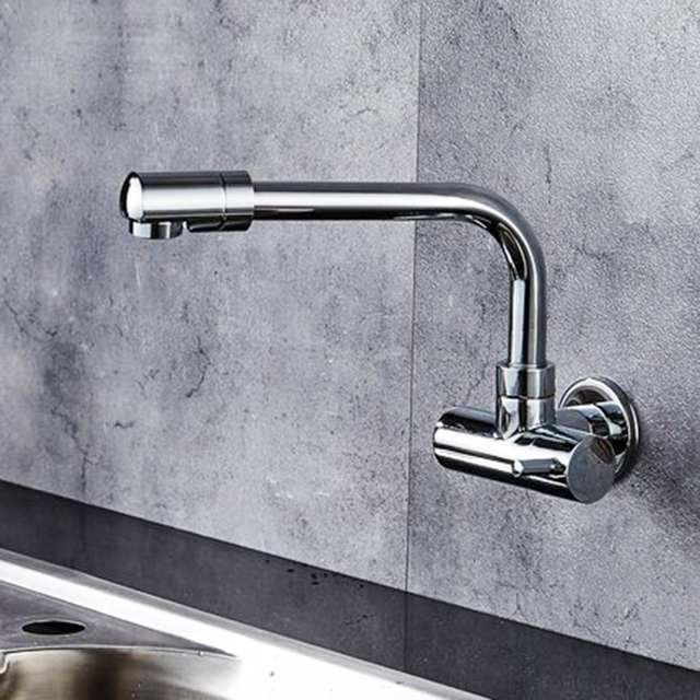 Chrome Kitchen Faucet Refacing Cabinet Doors Ulgksd Cold And Hot Water Mixer Tap Single Handle 360 Rotation Wall Mounted