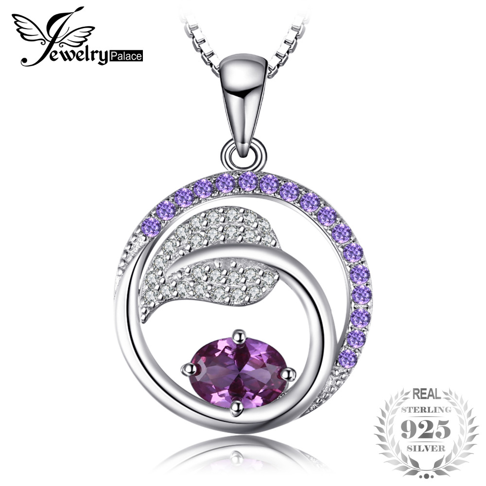 JewelryPalace Leaf 1.4ct Created Alexandrite Sapphire Purple Cubic Zirconia Pendant 925 Sterling Silver Not Include A Chain