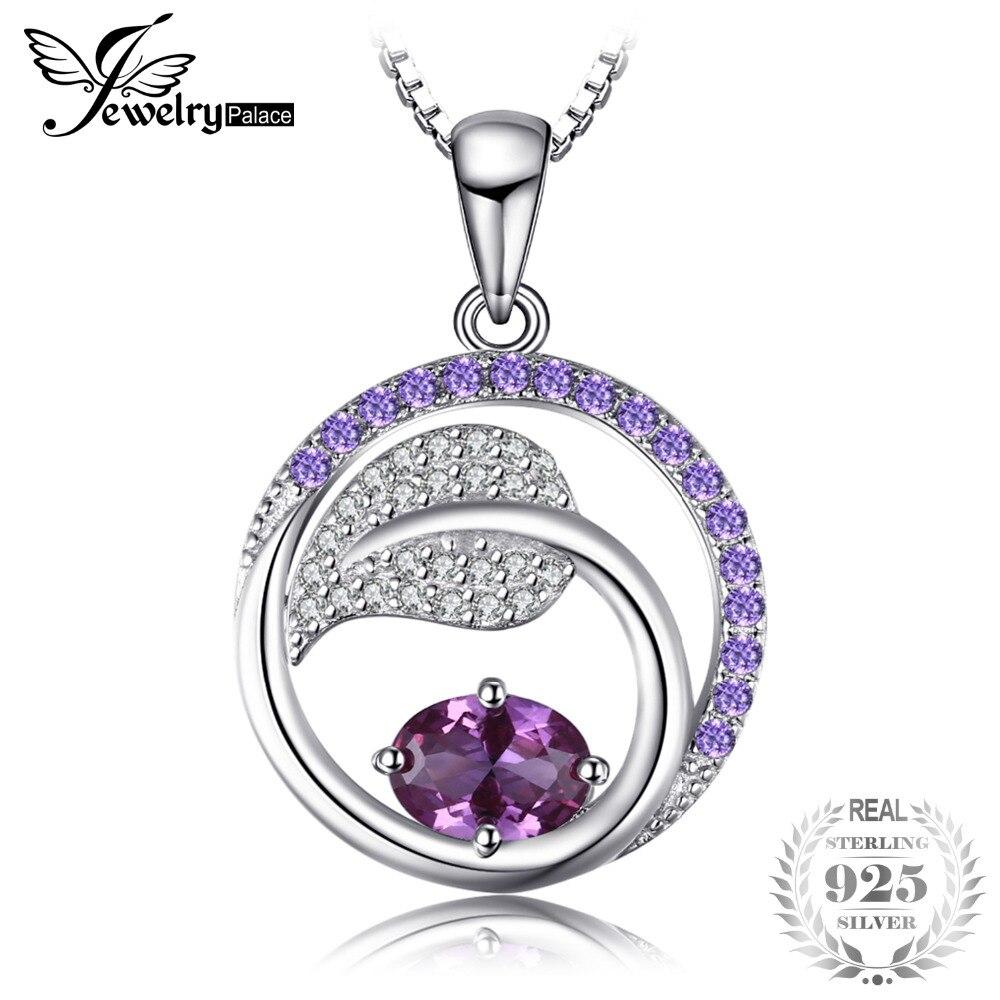 Jewelrypalace листьев 1.4ct создан Александрит сапфир Фиолетовый кубического циркония кулон 925 серебро не включает цепь