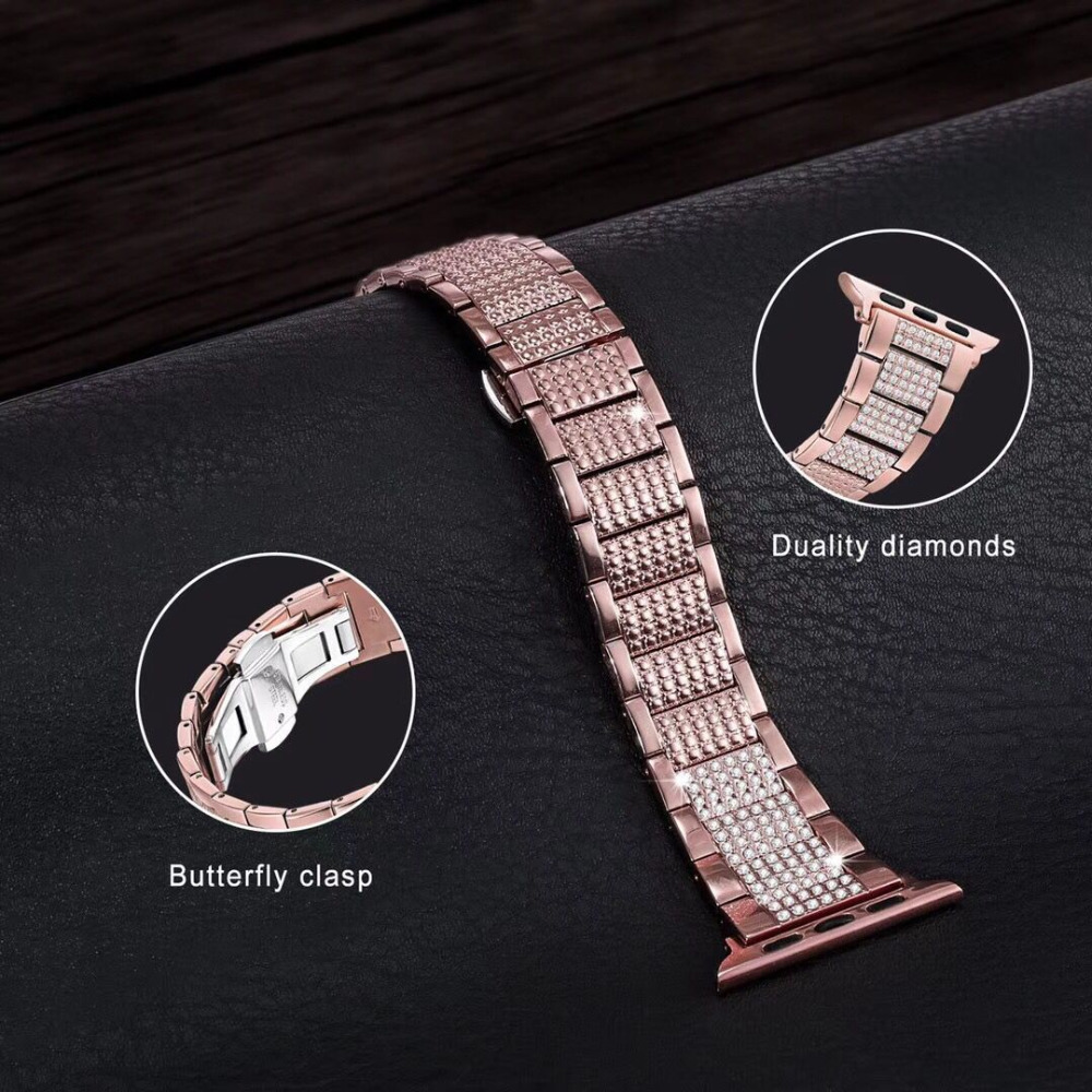 Butterfly clasp Stainless Steel link Bracelet Strap for Apple Watch Band Diamond 38mm 42mm 40mm 44mm For iwatch series 4 3 2 1 butterfly lock link bracelet watch band strap for apple watch 38mm 42mm stainless steel