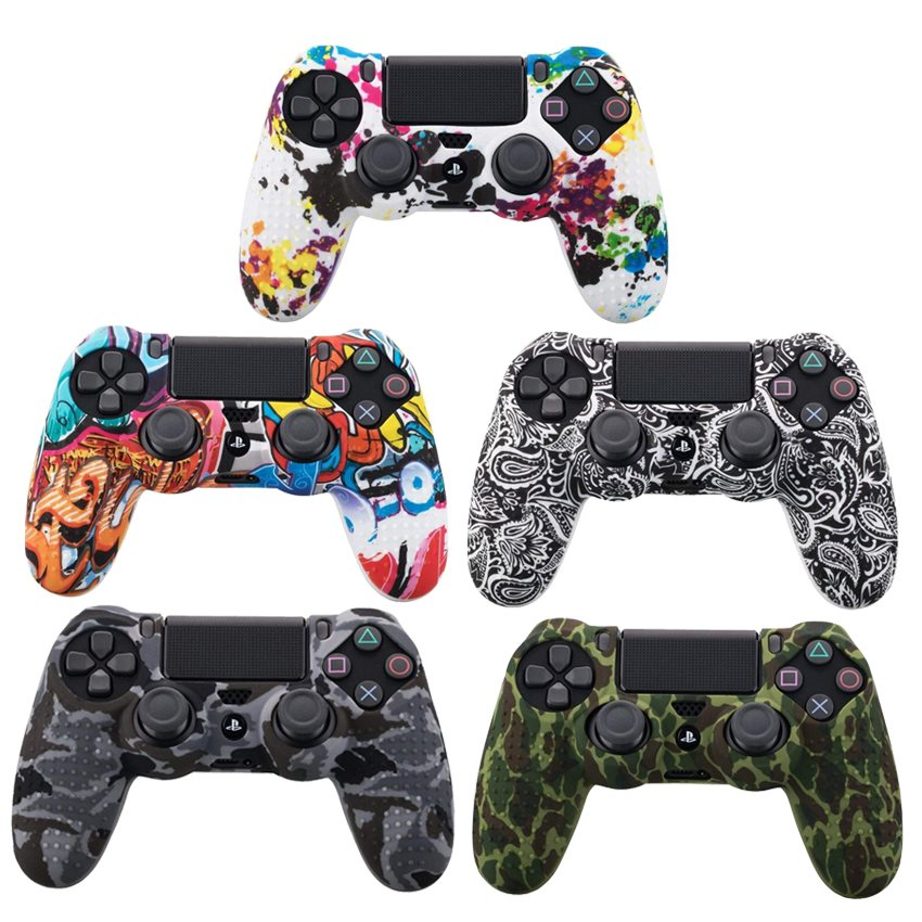 Camouflage Case Graffiti Studded Dots Silicone Rubber Gel Skin For Sony PS4 Slim/Pro Controller Cover Case For Dualshock4