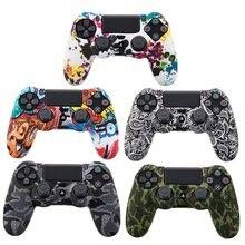 Étui de Camouflage Graffiti clouté points Silicone caoutchouc Gel peau pour Sony PS4 mince/Pro contrôleur housse pour dualshock 4