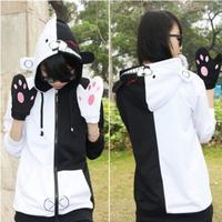 Danganronpa Monokuma Bear Spring Autumn Cartoon Anime Hoodies Sweatshirt Jacket Cosplay Costume For Woman Man