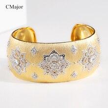 CMajor S925 ayar gümüş takı Vintage lüks çiçek altın renk 5A kübik zirkon manşet bilezikler kadınlar için