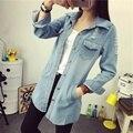 2016 крупных женщин размер Корейский однобортный отверстия в джинсах в долгосрочной джинсовой куртке женщина