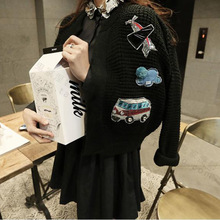 2016 Autumn and Winter new women's heavy embroidered sequins sweater knit cardigan patch jacket coat graffiti
