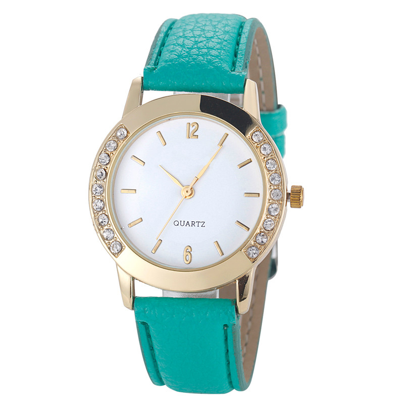 GEMIXI DROP SHIPPING Mode Dames Diamond Analoog Lederen Quartz - Dameshorloges
