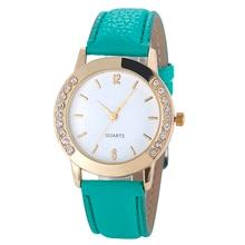 GEMIXI DROP SHIPPING Mode Kvinnor Diamond Analog Läder Quartz Armbandsur Klockor Kvinnor Klocka Apr30HY