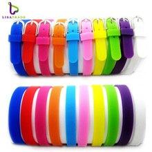 Bracelets Bracelets en Silicone de 8MM, couleurs mélangées (100 pièces/lot), accessoires adaptés à la lettre ou à la glissière, breloques LSBR09 * 100