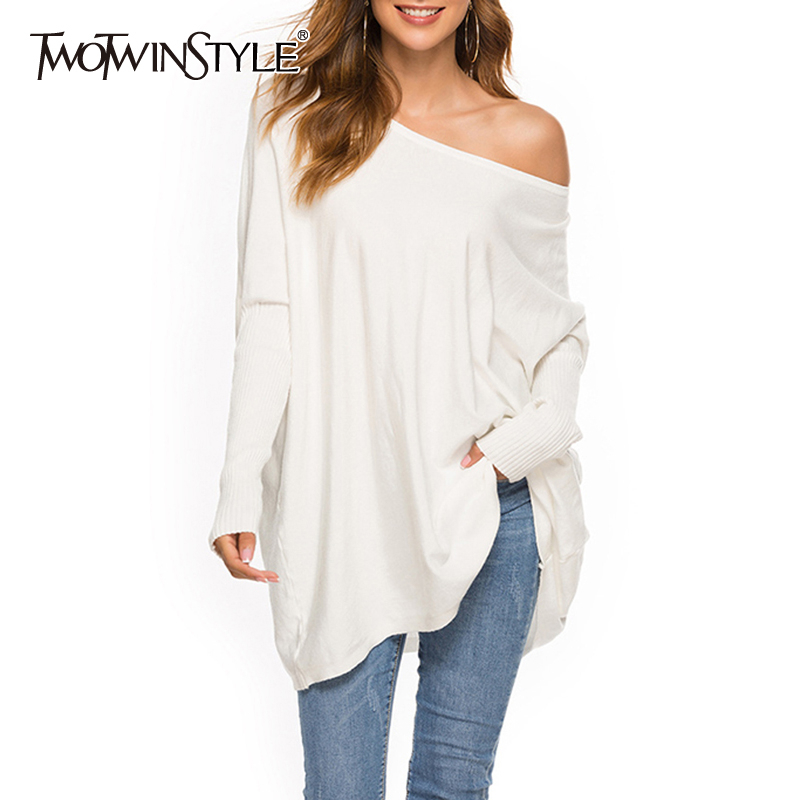 TWOTWINSTYLE Loose Solid Women's Sweater O Neck Batwing Sleeve Long Pullovers Casual Sweaters Female 2019 Fashion Autumn New
