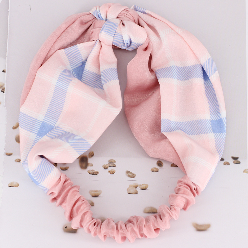2018 Sweet Plaid Cloth Patchwork Turbans Head Wrap for Girls Korean Hair Accessories Trendy Center Knotted Headbands for Women
