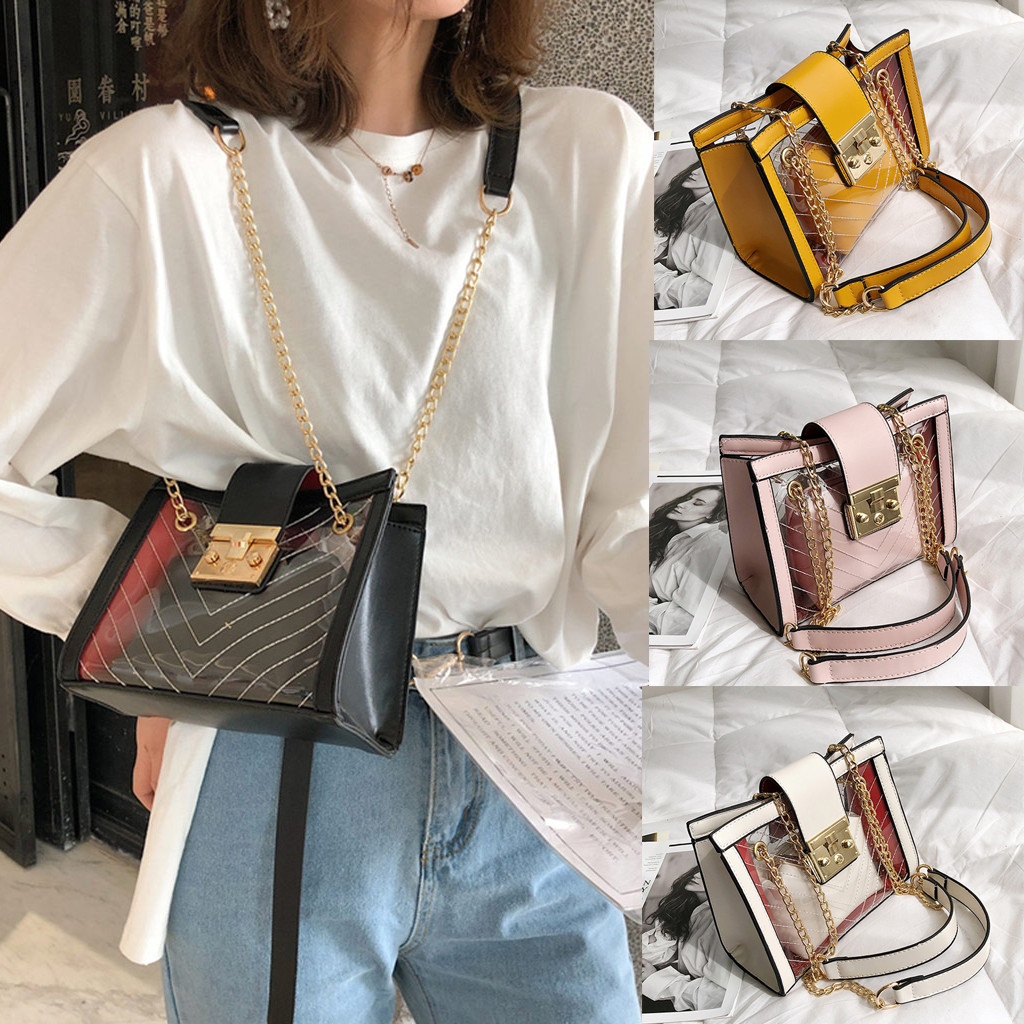 Women's Fashion Jelly Transparent Bag Striped Package  Chain Messenger Bag Chain Multifunction Messenger Bags(China)