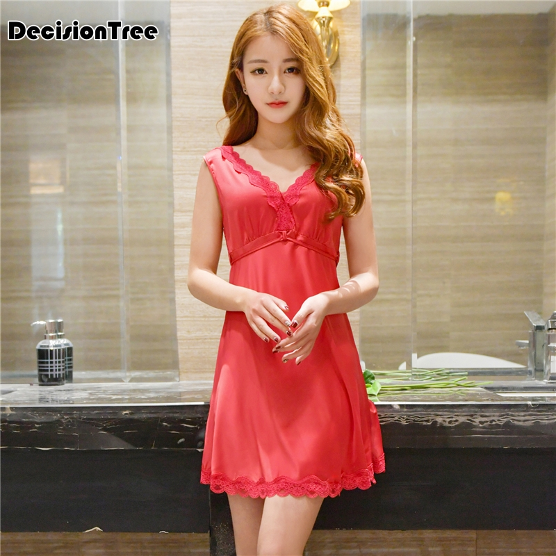 2019 summer silk lace women sleepwear ladies sexy lingerie sleepdress babydoll nightdress   nightgown     sleepshirts   homewear