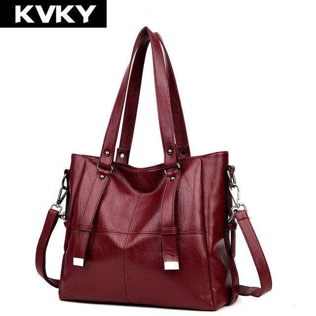 aed0f0ae0422 KVKY Brand Women Handbags Fashion Soft Leather Shoulder Bag Large Capacity  Casual Tote Bags Female Messenger