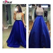 TaoHill Королевский синий выпускное платье А-силуэта с лямкой на шее бисером и кристаллами атласные вечерние платья Длинные