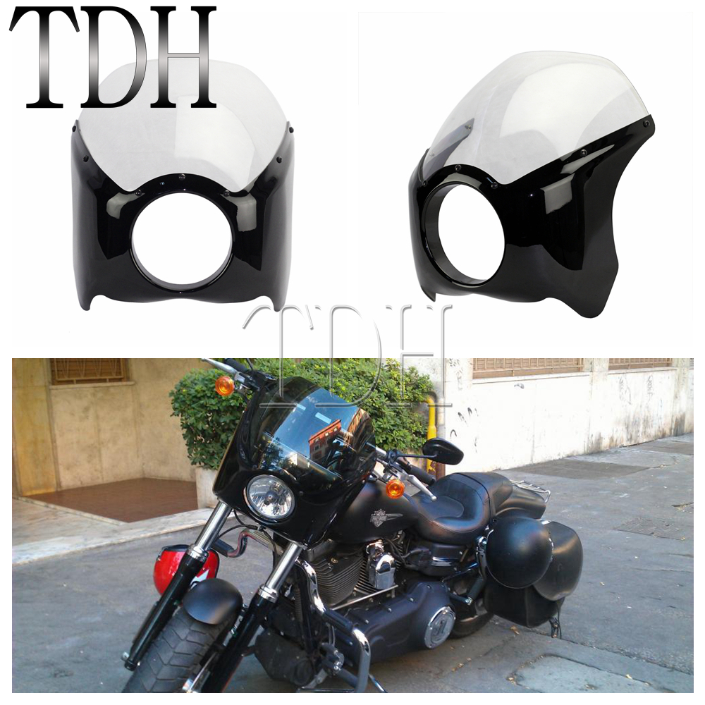 Black Clear Motorcycle Headlight Fairing Mask Windscreen For Harley Sportster Custom Glide Dyna Road King Black Smoke