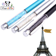 Free Shipping 10pcs Bling Metal diamond ballpoint portable crystal gifts pens custom printed with your company logo/website FREE